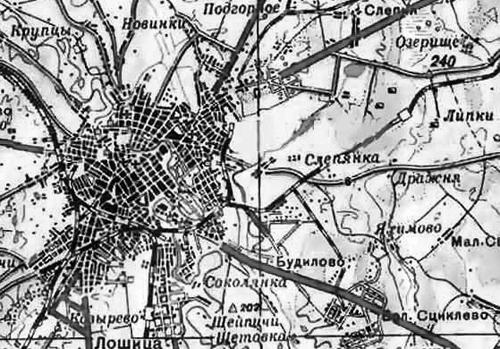 На карте Минска 1950 года многие современные жилые районы обозначены как пригород.
